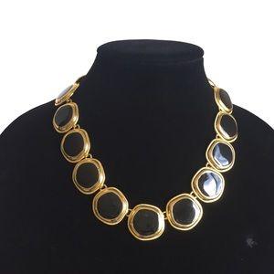Jewelry - Statement necklace black enamel goldtone links